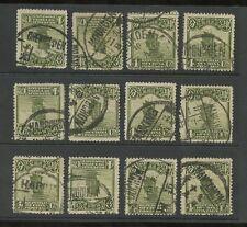 China 1913 Matasellos seleccionados..12 Sellos chenghsien Harbin hangchow Etc