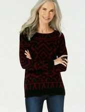 Charter Club Pure Cashmere Graphic Boatneck Sweater Plum Combo XL