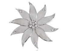 Glamour Pearlescent Enamel Crystal Rhinestone Flower Floral Petals Pin Brooch