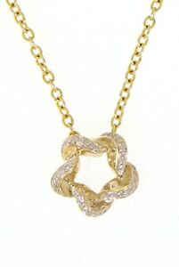 Solid 14k Yellow Gold 0.07CT Real Natural Diamond Designer Fine Pendant Jewelry