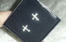 STUDEX Crystal Clear cross Earrings stud Sensitive 316 Surgical stainless steel