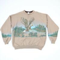 Vtg 90s Eagle Warp Around Print Henley Sweatshirt Faded Earthtone Grunge 2XL XXL