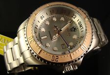 INVICTA MEN SWISS GMT  3300 FT DEEP DIVER 18K ROSE GP 52MM HYDROMX W SILVER DIAL