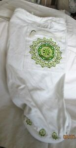 GAIAM Cream Canvas Yoga Mat Bag with Green Embroidery