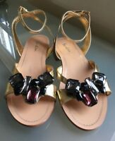 Boden Ladies Sandals 5 38 Gold Leather Jewelled Summer Shoes New Holiday