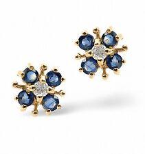 Zafiro y Pendientes De Botón Con Diamante Kanchan zafiro Tasación Certificado