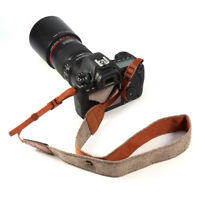 Vintage Classic White Brown Weave Camera Shoulder Neck Strap Belt For Canon DSLR