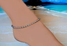 .925 Sterling Silver Bead & Peacock Freshwater Pearl Anklet 9 to 10 inches