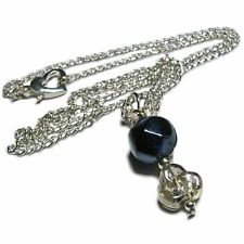 Shimmering Dark Blue/Black Glass Bead Necklace By SoniaMcD