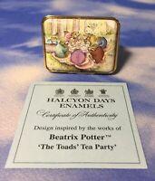 """RARE LE Halcyon Days Enamels Beatrix Potter """"The Toads' Tea Party"""" Box 38/50 EUC"""