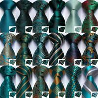 Gold Green Red Blue Black Stripped Silk Tie Set Necktie Hanky Cufflinks Formal