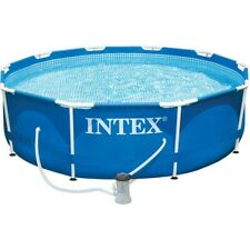 10FT New Metal Frame Portable Swimming Pool Above Ground Backyard + Filter Pump