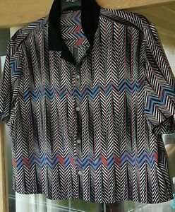 ASOS Men's Shirt ZIG-ZAG Pattern Size Large To Fit Chest 40-42 100% Polyester