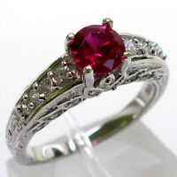 TRENDY 1 CT RUBY ROUND CUT 925 STERLING SILVER RING SIZE 5-10