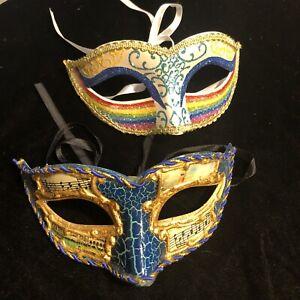 Pair Of Masquerade Rainbow And Musical Masks W/ Ribbon