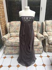 Monsoon Havana Grey Strapless Silk Maxi Dress Size 10