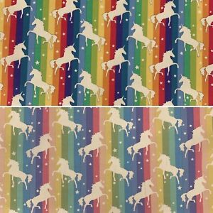 Rose & Hubble Bright Rainbow Stripe & Unicorn Fabric 100% Cotton NHS Craft Dress