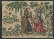 Grabado antiguo de Santa Maria Egipciana andachtsbild santino holy card