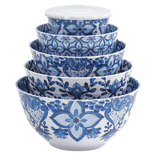 Member's Mark Melamine 10-Piece Mixing Bowl Set - Blue French Country