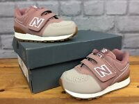 NEW BALANCE 574 UK 5 EU 25.5 PINK  WHITE HOOK AND LOOP TRAINERS CHILDRENS LG