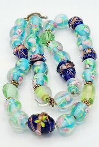 Vintage Czech Lampwork Glass Beaded Necklace
