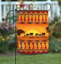 Toland Savanna Sunset 12.5 x 18 Colorful Africa Elephant Safari Garden Flag
