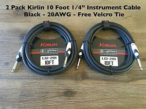 """2-Pack Kirlin 10 ft Guitar / Instrument Patch Cable 1/4"""" PLUS Free Cable Ties"""