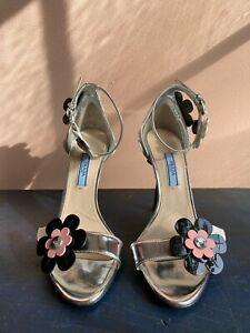 Prada NWOB New mirror metallic flower heel dress sandals holiday resort $800 37