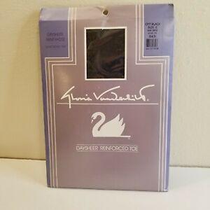 Gloria Vanderbilt Vintage Nylons - Daysheer Rein Toe - Off Black Size E -Plus