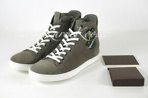 NEW AUTH LOUIS VUITTON ZIP UP MEN PEACE SIGN HIGH TOP SNEAKERS LV 6.5 / 7.5 US