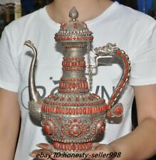 Antique Rare Silver Filigree inlay natural Red Coral Dragon Teapot Kettle Flagon