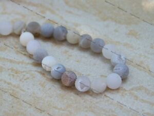 36 Matte Frosted Grey Drusy Agate gemstone beads 10.5mm approx., New B37D