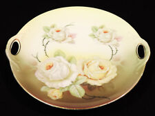 Kalah Cabinet plate open handles white roses green leaves gold trim Germany