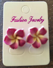 NEW Beautiful Hawaiian Plumeria Purple Flower Fimo Polymer Clay Pierced Earrings