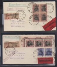 Marienwerder 50pfg blocks of 4 and 3, last day covers, Attests, Michel 17x, 17y
