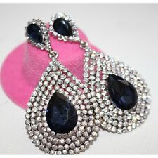 Fashion Waterdrop Sapphire Blue & Clear Crystal Rhodium Plate Earrings UK seller