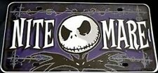 "Disney License Licence Plate - Nightmare Before Christmas ""NITE MARE""  (New/Sld)"