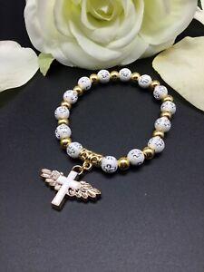 Rosenkranz Armkette Silber / Weiß / Gold 8mm Kreuz Glücksbringer Taufe Kommunion