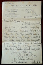 Charles Narse & Co. Ltd. Tool Merchants & Cutlers. Hand Written Letter Nov 1917