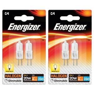 Energizer G4 Halogen Capsule ECO 16w = 20w 232 Lumens 12V Warm White (4 Pack)