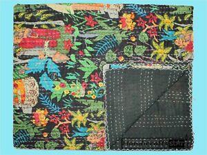 Handmade Coverlet Kantha Quilts Frida Kahlo Print Bedspread Queen Size Blanket