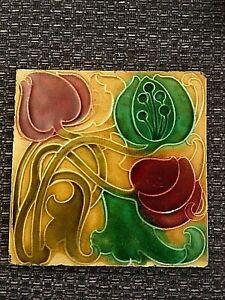 Art Nouveau Relief Moulded floral tile  21/410S