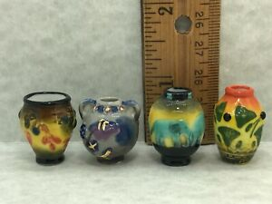 4 Emile Galle Art Pottery Vases Art Nouveau French Feves  Dollhouse Miniatures