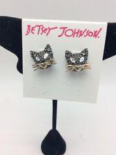 $32  Betsey-Johnson-Womens-Gold & Hematite-Cat-Stud-Earrings  F230
