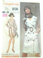 Simplicity Vintage 1960's Double Breasted Coat Dress Button Up Sewing Pattern