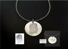 Your Fingerprint Handwriting Necklace Engraved 925 Sterling Silver Necklace