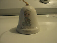 """1985 Precious Moments """"May Your Christmas Be Delightful"""" Bell Ornament Enesco"""