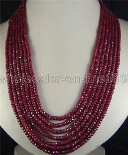 AAA 2x4mm NATURAL RUBY FACETED GEMS BEADS NECKLACE 7 STRAND 17-23""