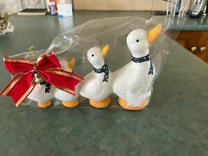 4 White Ducks in a Row Outdoor Ornament