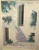 "Giorgio Zuppini ""Angolo Rustico"" Signed Watercolor Print - Framed and Matted"